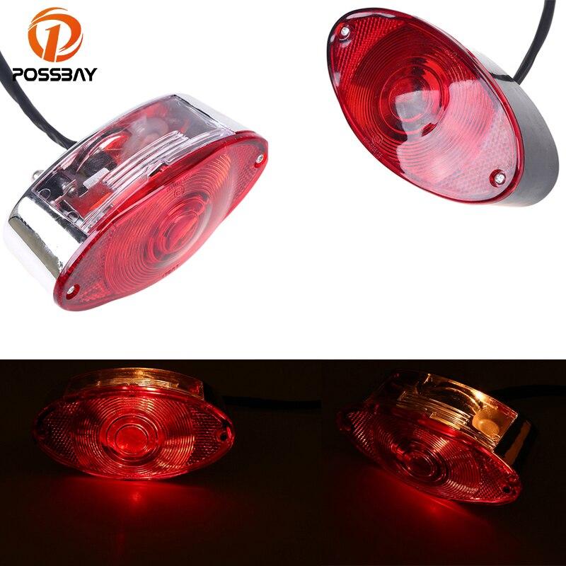 POSSBAY, luz LED de freno ovalada de 12V Universal para motocicleta, luz trasera auxiliar roja, luz trasera para Honda dio yamaha y1 Cafe Racer