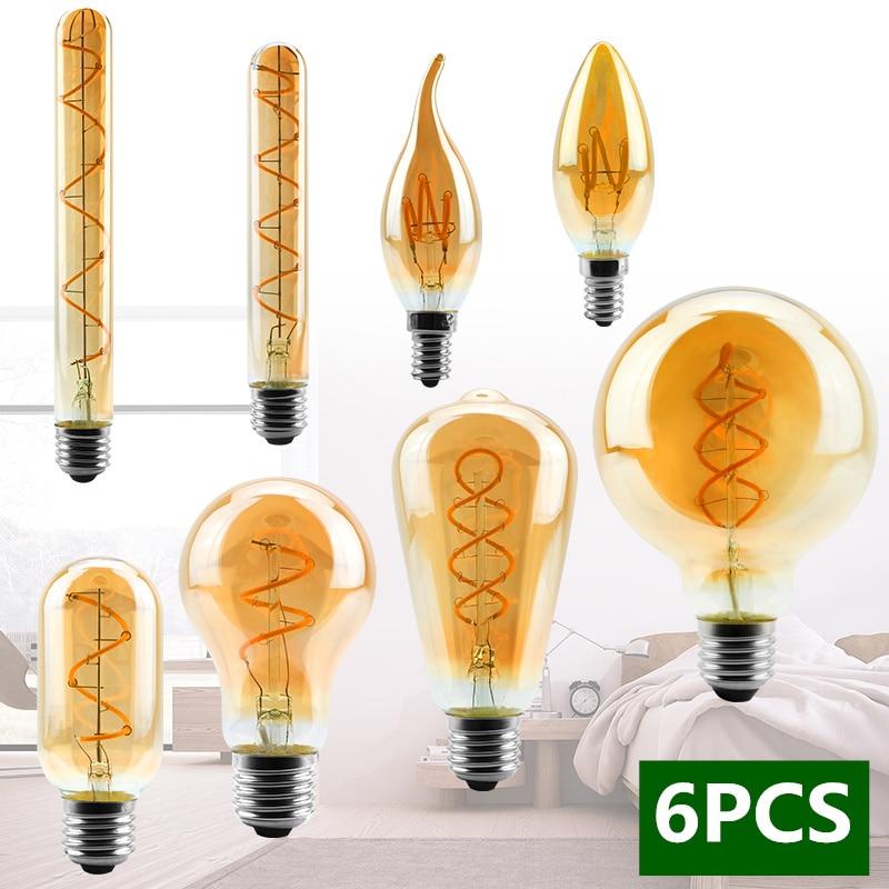 Светодиодная винтажная лампа Эдисона E14 E27 4 Вт 2200 к 220 В C35 A60 T45 ST64 T185 T225 G80 G95, 6 шт./лот