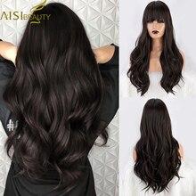 Parrucche sintetiche AISI BEAUTY parrucche sintetiche ondulate a corpo lungo marrone per donne con frangia parrucche naturali resistenti al calore