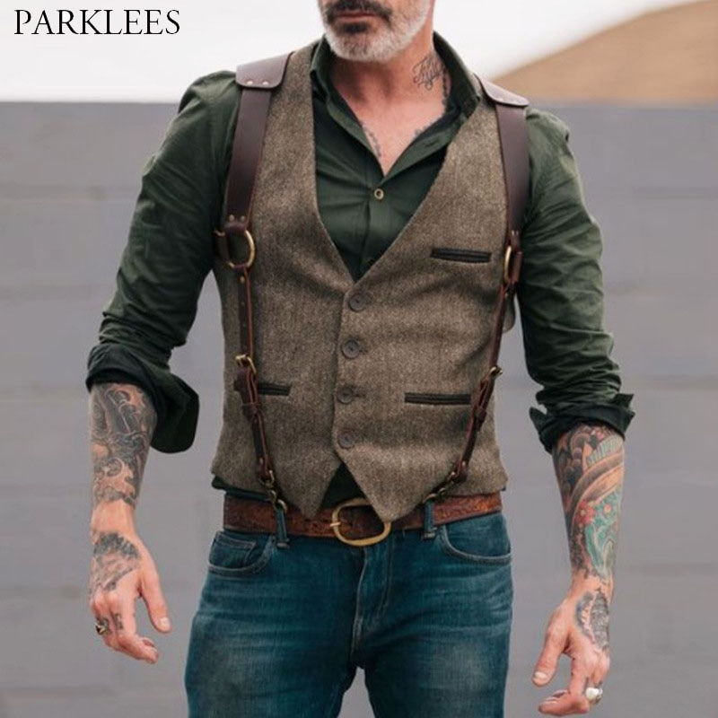 Wool Tweed Men Suit Vests Victorian Steampunk Cosplay Mens Waistcoat with Suede Gentleman Groomman Wedding Slim Fit Men Gilet