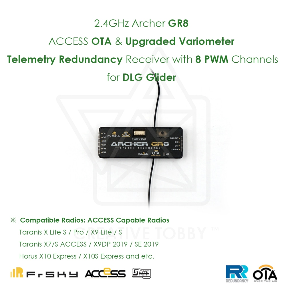 FrSky 2,4 GHz Archer GR8 acceso OTA actualizado variómetro telemetría Redundancy receptor con 8 conectores PWM Servo para F5J Glider