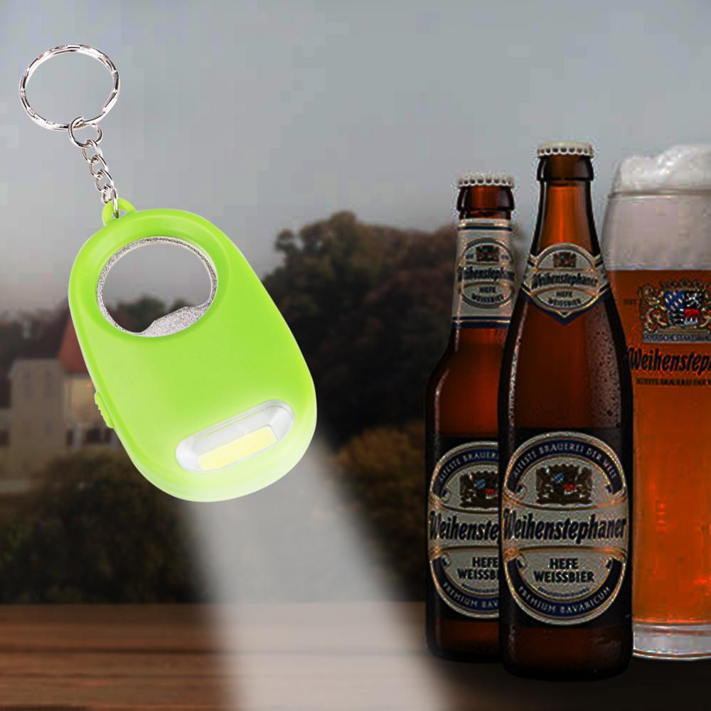 2 In 1 Bottle Opener Keychain Light Mini Key Ring Lantern Bar Tool Pocket Beer COB LED Flashlight Torch