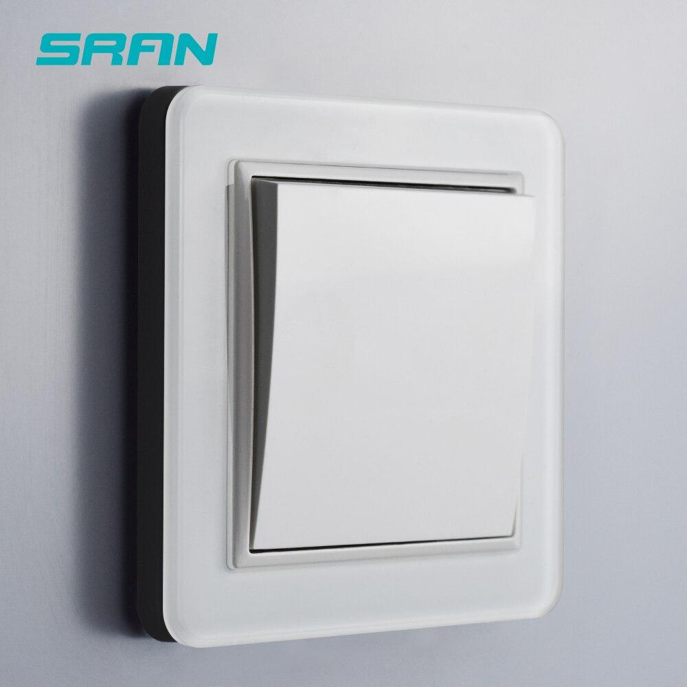 SRAN, европейский стандарт, 1 банда, 1way настенный светильник, переключатель, 2.5D изогнутая панель из закаленного стекла для домашнего украшения, 83*83 мм