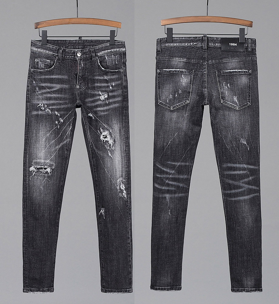 European Style dsq brand Jeans Men Stretch Elastic Slim Denim Jeans Mens Casual Washed black Pockets Jeans for man 8221