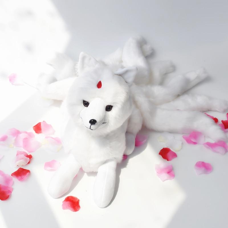 Super Cute Soft White Red Nine Tails Fox Plush Toy Stuffed Animals Nine-Tailed Fox Kyuubi Kitsune Dolls Creative Gifts for Girls