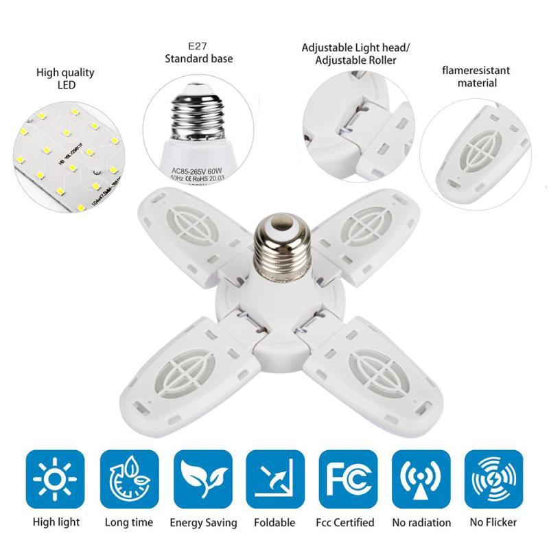 Промышленный светильник для гаража, прочный складной светильник для гаража с лопастями и вентилятором, 38 Вт, 52 светодиодный