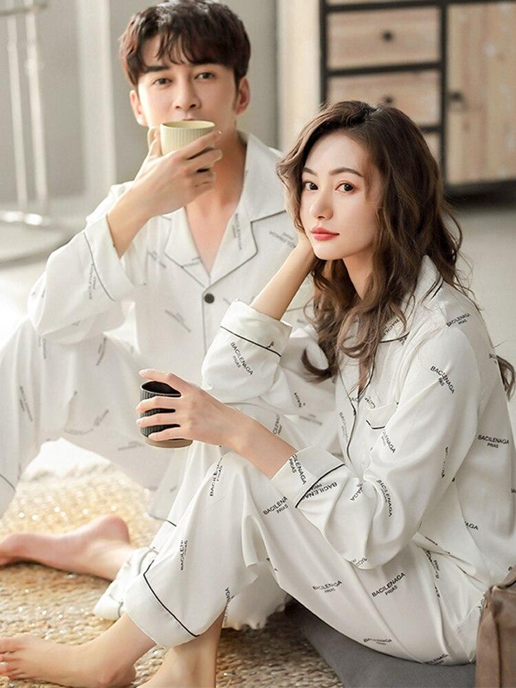 Winter Cotton Couple Pajama Men and Women Sleepwear Home Wear White Letter Pyjama Femme Pj Black Couple Pijamas Para Parejas