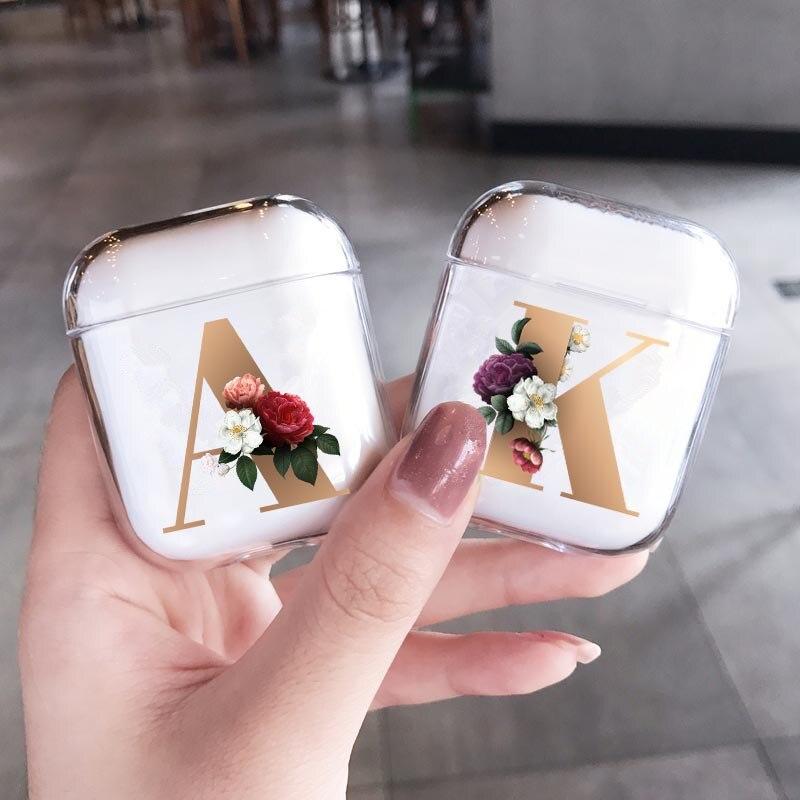 Funda de silicona para Apple Airpods 1 2 fundas funda Floral letras del alfabeto auriculares airpods funda para Airpods Pro capa bolsas
