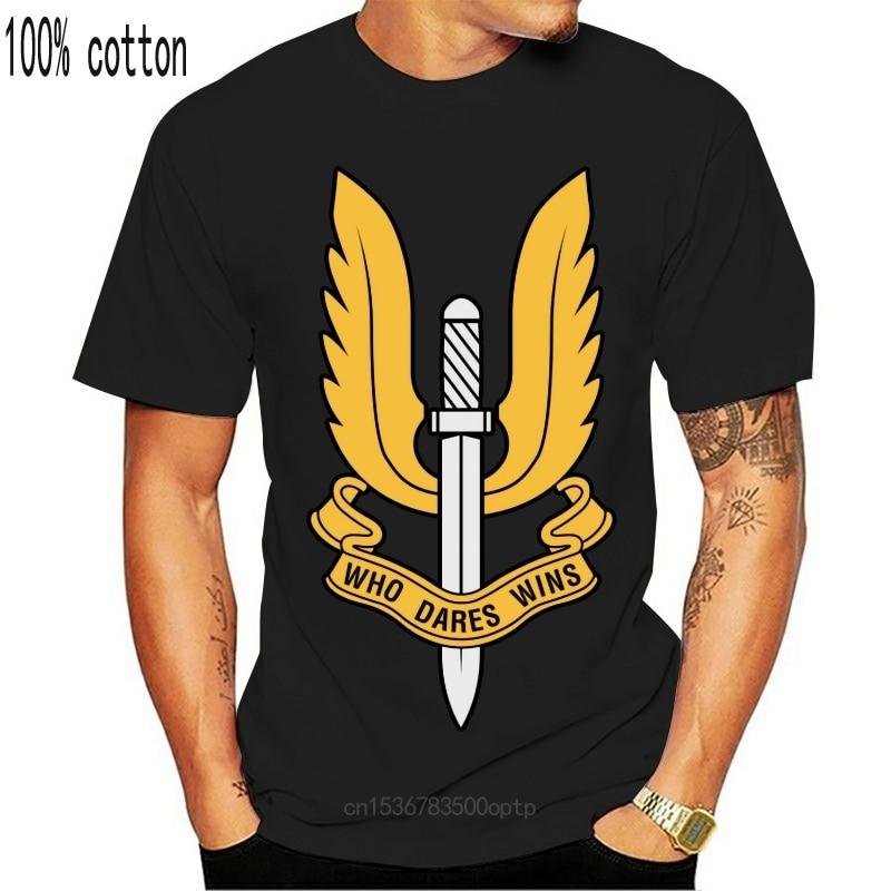 New Hot Sell 2021 Fashion SAS Who Dares Wins British Army Military Men's Cotton T Shirt T Shirts Short Sleeve