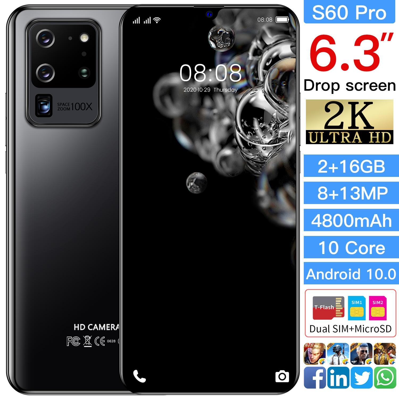 PLTDP S60 pro الإصدار العالمي 6.3 بوصة الهاتف الذكي 16GB ROM 5 + 8 ميجابكسل الهاتف المحمول 4500mAh هاتف محمول إضافة TF بطاقة الهاتف