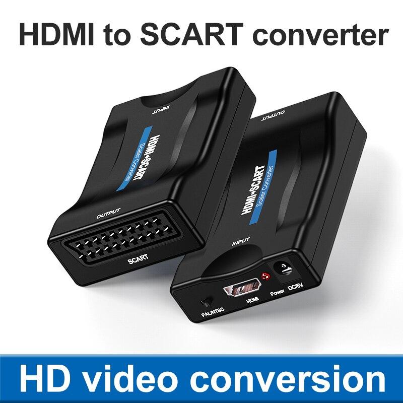 1080p hdmi-compatível com scart conversor de audio video av adaptador hd receptor...