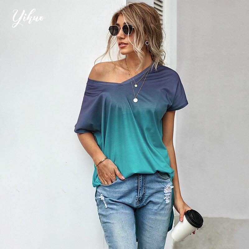 Женская длинная футболка YIKUO, с коротким рукавом и V-образным вырезом