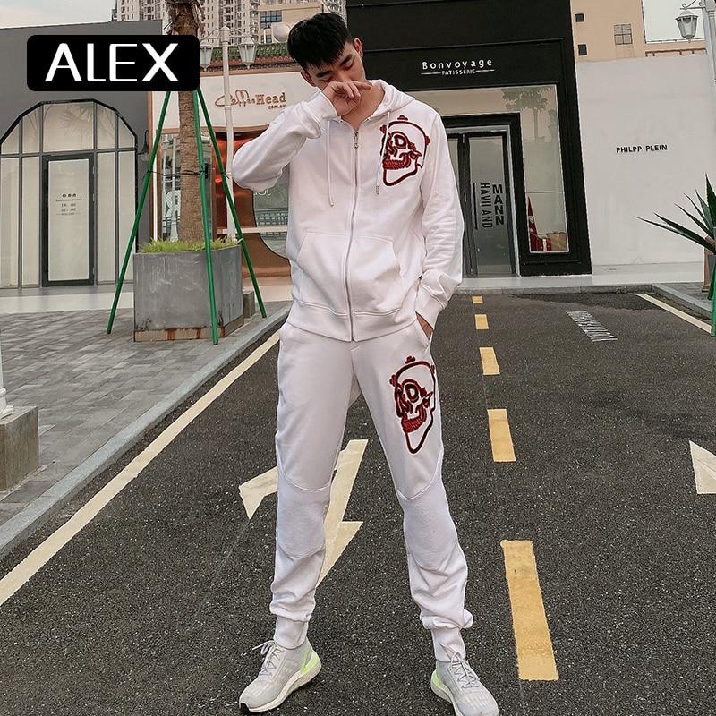 أليكس بلاين هوديي البلوز الرجال مخطط الجماجم التطريز الرجال 100% القطن الشارع الشهير الرجال موضة ملابس رياضية حلاق عادية