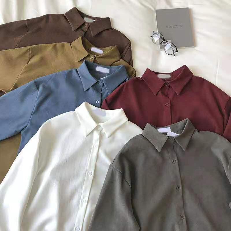 New Korean long sleeve blouse autumn  winter 2020 korean fashion clothing harajuku Streetwear Corduroy