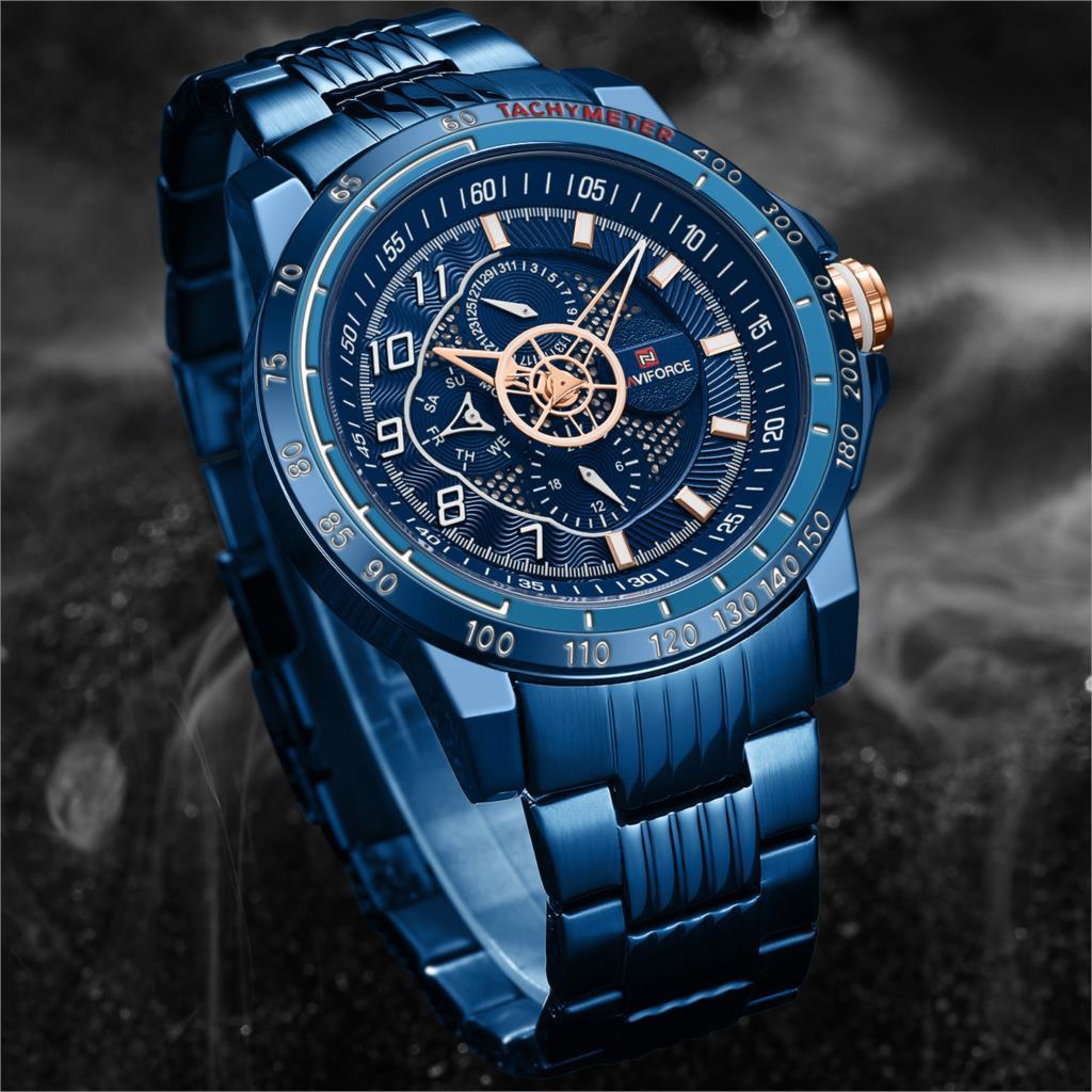 NAVIFORCE luksusowej marki męskie sportowe zegarek niebieski pełna stal kwarcowy zegarki mężczyźni data wodoodporny zegarek wojskowy człowiek Relogio Masculino