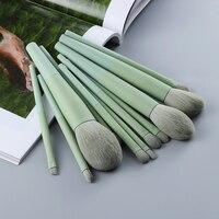 FLD 11/8 шт натуральные волосы зеленые кисти для макияжа тональный порошок тени для век набор кистей для бровей косметический инструмент профе...