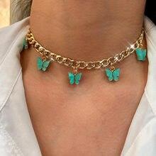 Punk Vintage métal cubain chaîne collier ras du cou pour les femmes or argent couleur brillant acrylique papillon pendentif collier bijoux cadeau