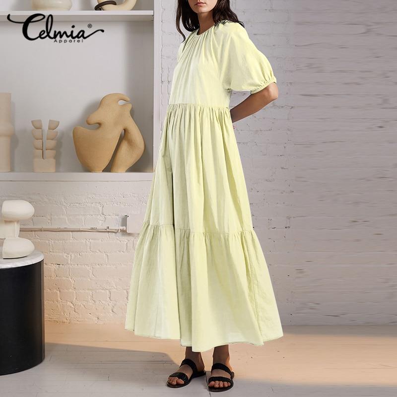 Celmia 2021 Summer O-Neck A-line Dress Fashion Puff Sleeve pieghettato Maxi Vestido Plus Size Robe Casual allentato tinta unita Sundress