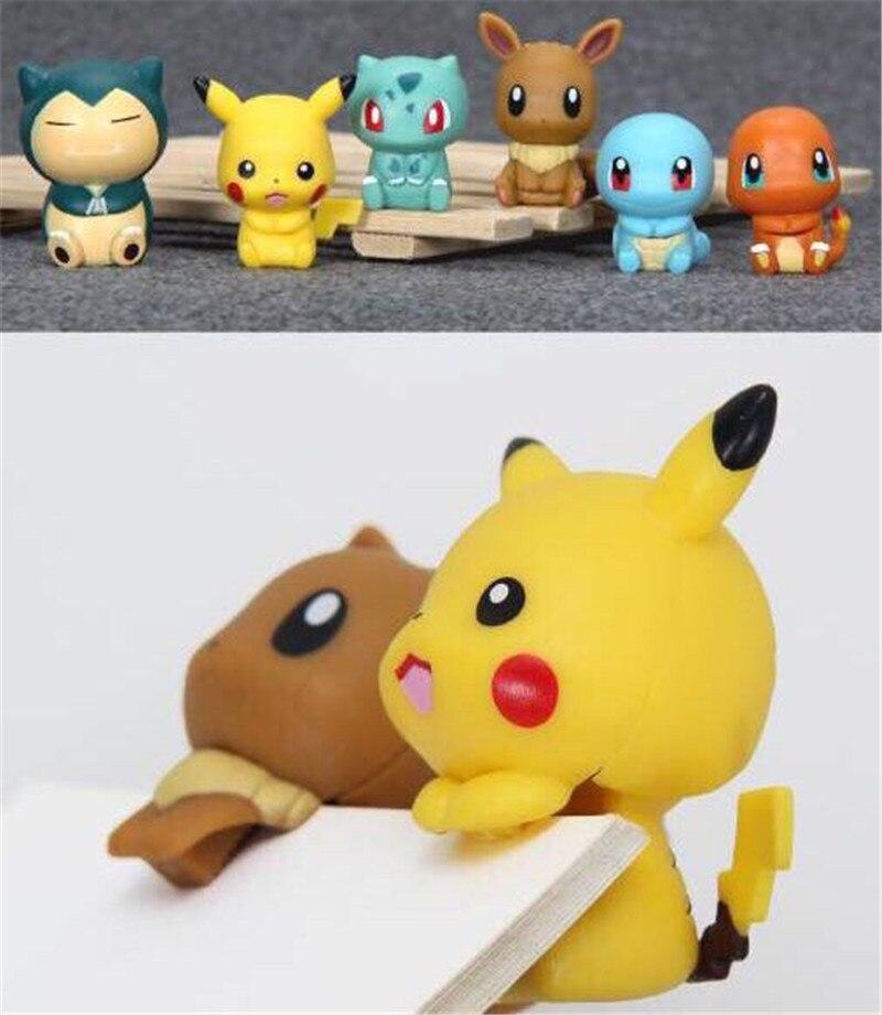 6pcs/set Pokemon Sitting posture pikachu Eevee Snorlax Squirtle Bulbasaur Action Figures Toys