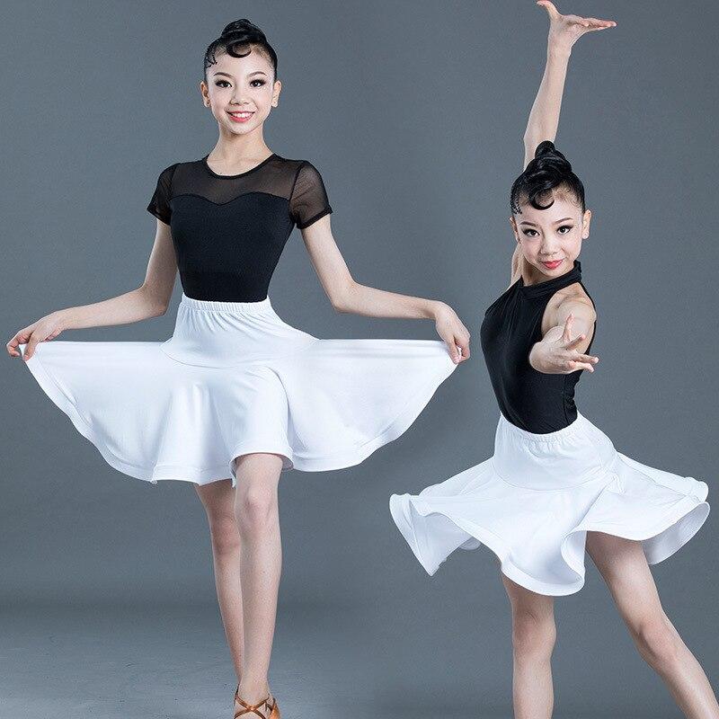 2020 Summer New Children Latin Dance Dress Leotards Suit Performance Competition Clothing Girls Skirt
