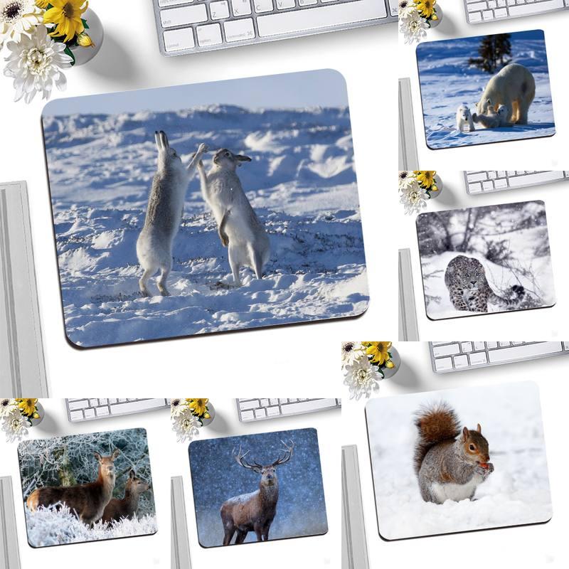 Игровые коврики с животными в снегу, коврик для мыши, Настольный коврик для мыши, игровой маленький коврик для мыши, коврик для клавиатуры ...