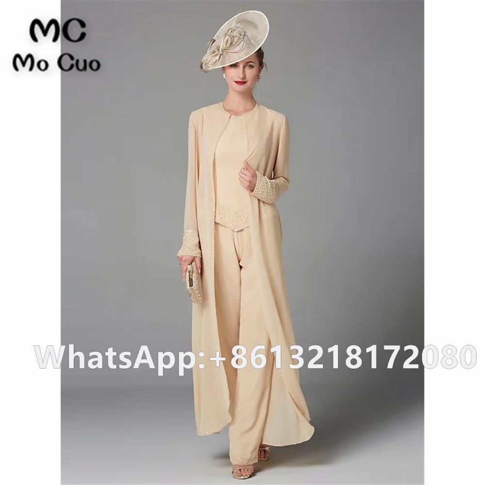 Chamapgne بذلة أم فستان عروس es طويل مع سترة مطرز الزفاف فستان الضيف الشيفون أم فستان عروس