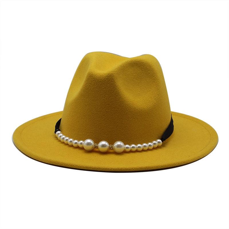 Fedora Hat Hawkins Felt Cap Wide Brim Ladies Trilby Female Chapeau Hat Women's Jazz Church Godfather Sombrero Caps