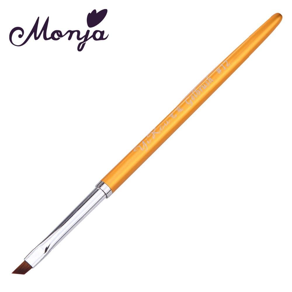 Monja #12 Glod Metal Handle Oblique Head Nail Art Flower Design Painting Drawing Pen Brush Home DIY Manicure Tool