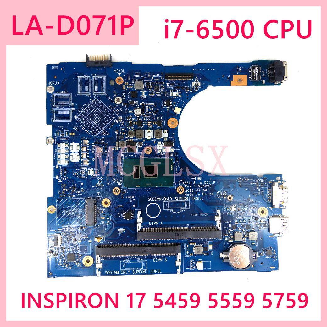 LA-D071P i7-6500U CN 0RV4XN RV4XN اللوحة لديل انسبايرون 17 5459 5559 5759 اللوحة المحمول DDR3L اختبار 100% اختبار موافق