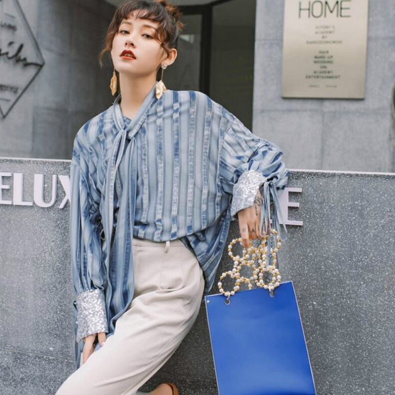 2020 New Chic Tie Bowknot  Blouse Women Casual Striped Top Shirts Female Loose Blusas Autumn Fall Casual Ladies Office Top Sexy