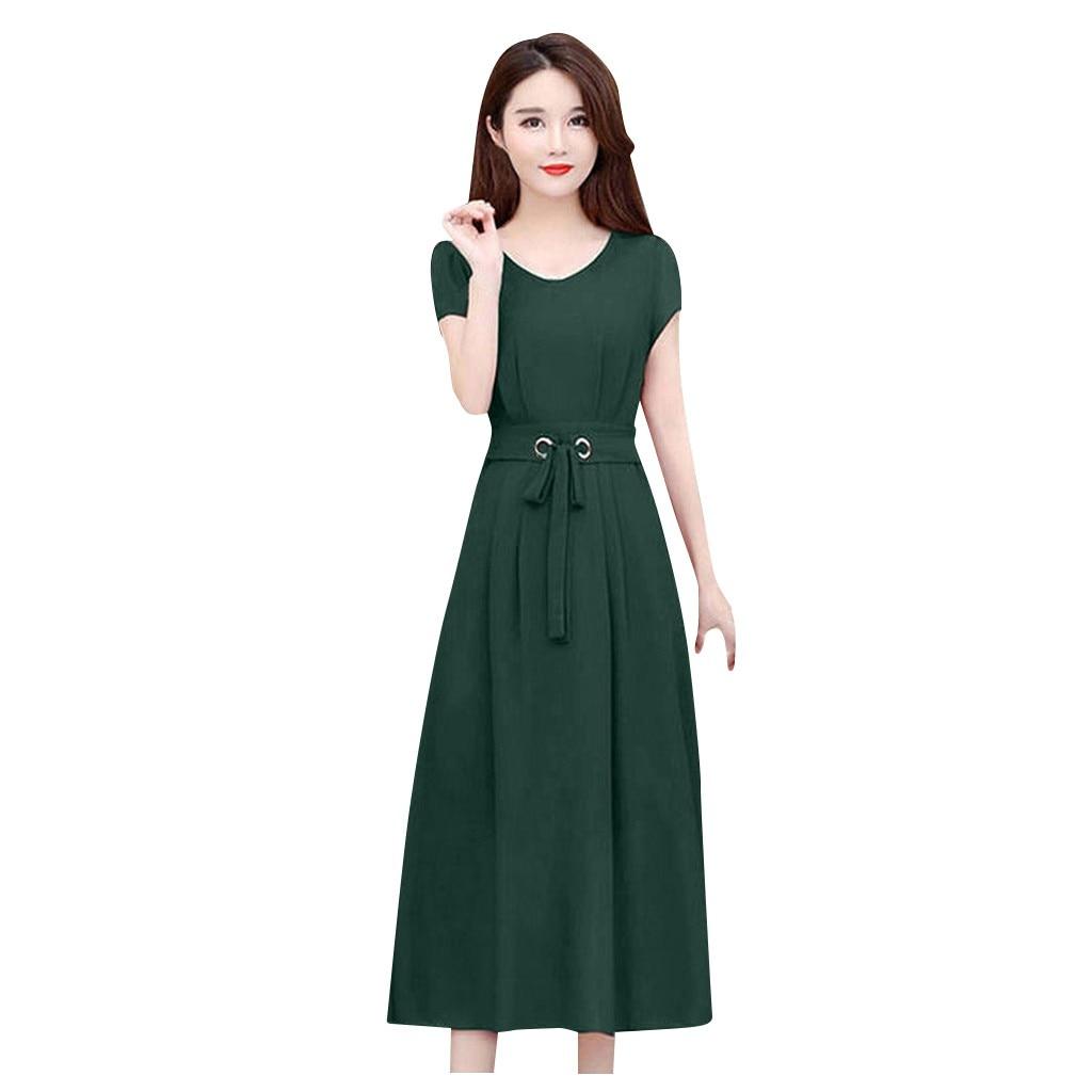 Femmes robes été 2020 mode O cou femmes couleur unie mi-mollet robe été à manches courtes robes Vestido Mujer