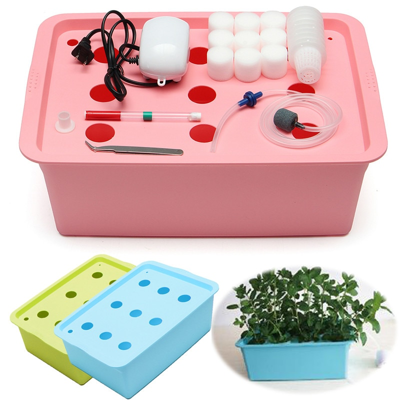 110v 9 buracos sistema hidropônico kit dwc aerobic soilless cultivo indoor plantio de água crescer caixa