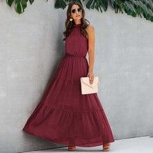 2020 Summer Sexy Backless Maxi Dresses for Women Halter Long Black Dress Floor Length Lace Up Elegant Party Dresses Cotton