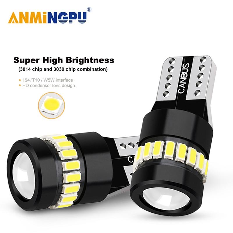 Anmingpu 2x lâmpada de sinal t10 led w5w 18smd 3014 chips w5w 168 194 branco auto lâmpada led luz de leitura luz dome