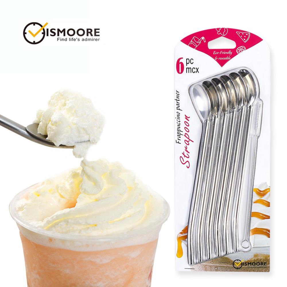 Colher bebendo palhas, agitador de colher de palha de aço inoxidável de metal reutilizável com escova de limpeza para milkshake, smoothies, conjunto de 6