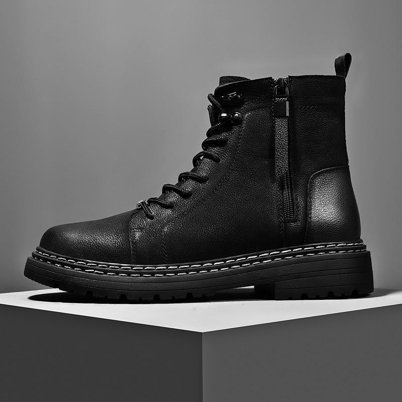 أحذية رجالية كلاسيكية من الجلد الطبيعي مع سحاب جانبي ، أحذية جلدية غير رسمية ، أحذية فاخرة مريحة في الهواء الطلق