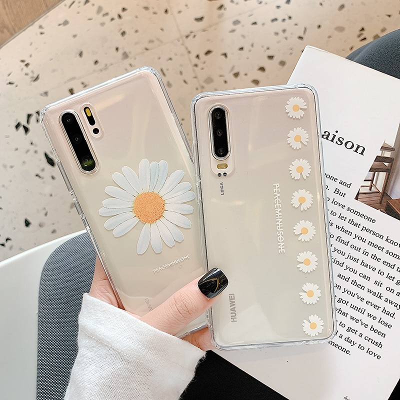 Bonita funda transparente de margaritas para Samsung Note 10 plus 8 9 s10e s9 s8 S10 S20 A5 A8 A30 A40 A50 A80 A90 A71 A51, funda blanda