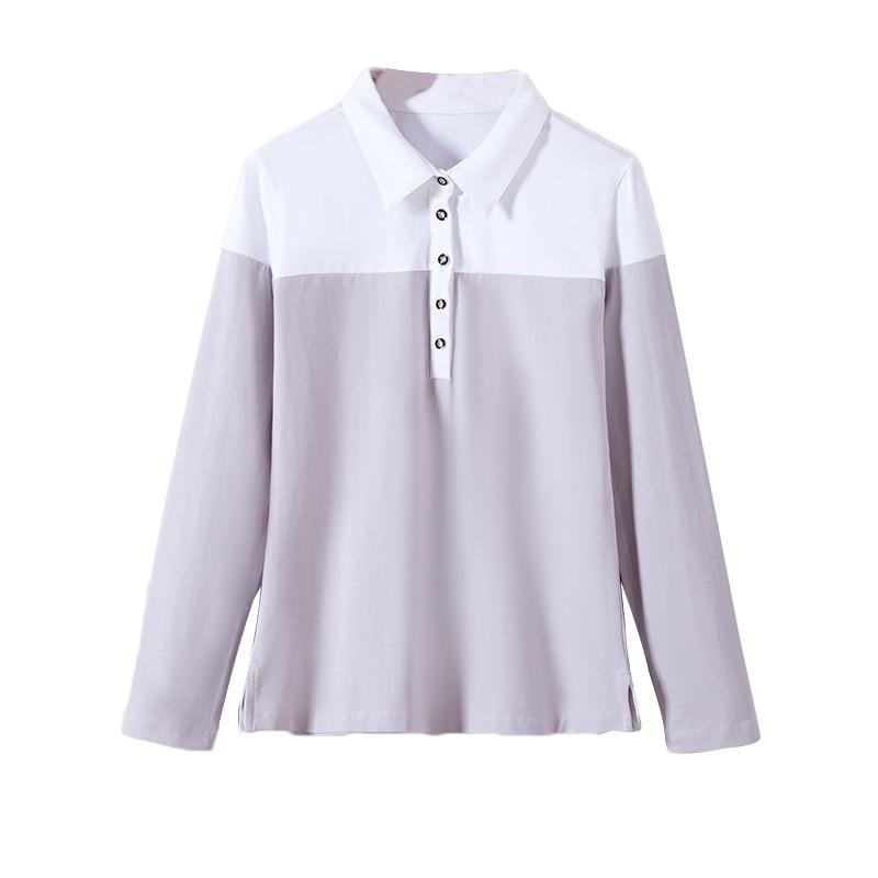 2020 mujeres primavera y verano de manga larga Camiseta femenina costura simple temperamento de solapa ol comf camisa de fondo