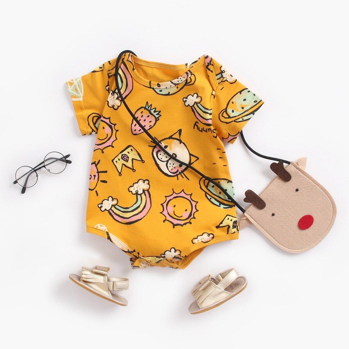 Yg brand children's clothing 2021 summer new baby one-piece cute cartoon cotton triangle short climb