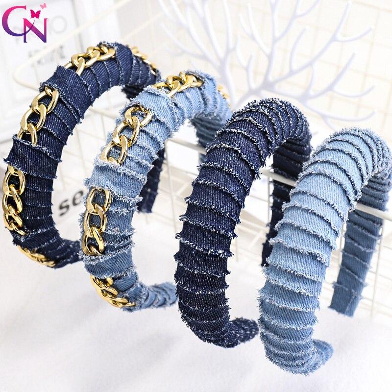Moda Sólidos Azul Denim Acolchoado Corrente De Metal Hairbands Meninas Headband Para As Mulheres Novo Estilo Hoop Cabelo Grande Acessórios Para o Cabelo