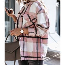 Hot Sale Women Fashion Plaid Shirt Jackets Turn-down Collar Autumn Oversized Jacket Fashion Loose Co