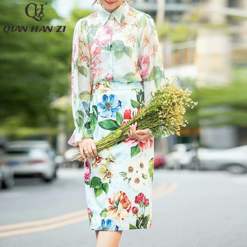 تشيان هان زي مصمم أزياء أنيقة اثنين من قطعة مجموعة إمرأة قمم و البلوزات و زهرة المطبوعة bodycon تنورة دعوى مجموعات