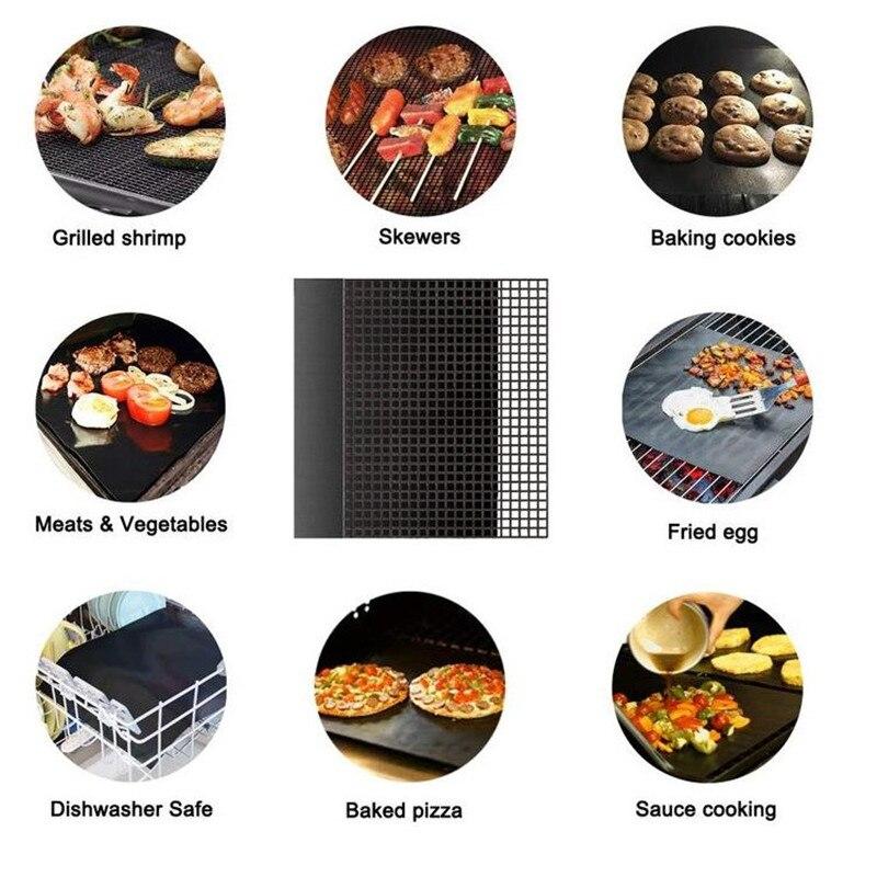 1/5/10 pces piquenique ao ar livre reusável antiaderente churrasqueira esteira ptfe churrasco assadeira cozinhar almofada forno de microondas ferramenta 40cm x 33cm 5z