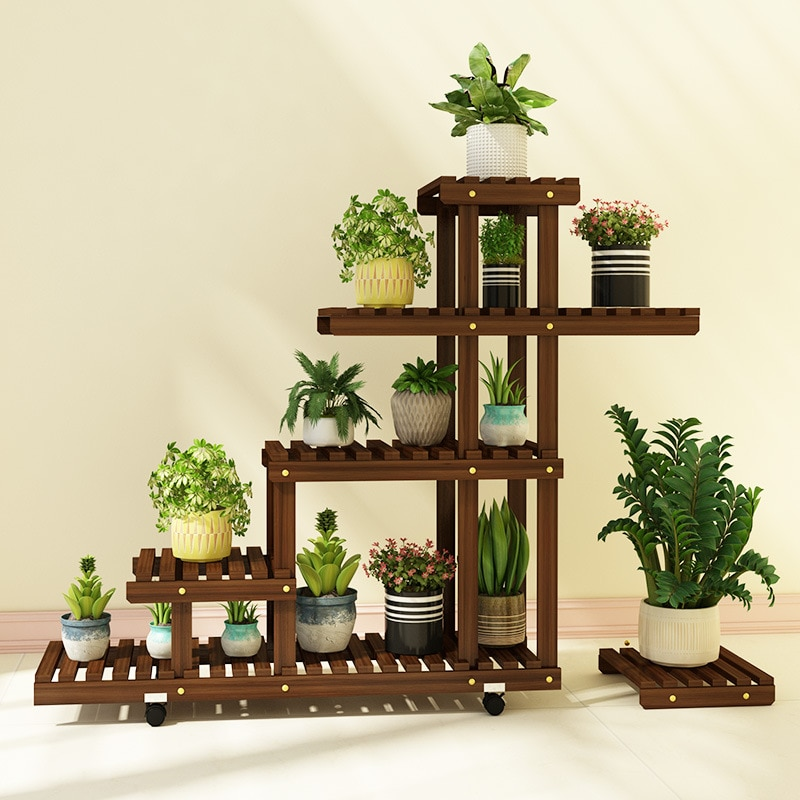 6000g 4 Layer Plant Wooden Flower Stand Succulent Bonsai Stand Balcony Living Room Indoor Green Dill Plant Shelf Sturdy Durable недорого