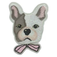 sequins patch ins dog head patches for clothing sequined large biker badge strange things stickers diy clothes gifts