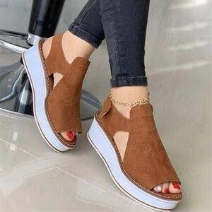 Women Sandals Summer Peep Toe Shoes Platform Sandals Women Shoes Wedge Vintage Roman Beach Casual Shoes for Women 2021 Sport