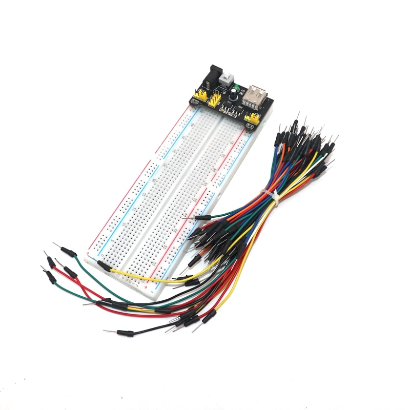 3.3V 5V MB102 Breadboard power module 830 points Solderless PCB Bread Board Test Develop 65 jumper wires foy arduinoDIY