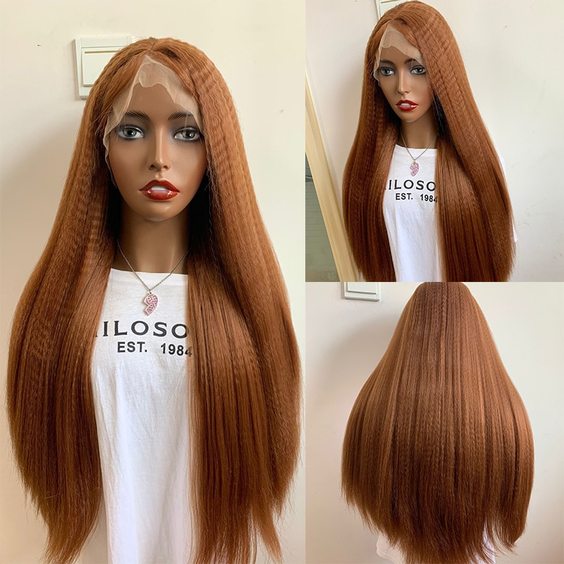 ياكي العسل براون 180% الكثافة 26 بوصة طويل غريب مستقيم الاصطناعية الدانتيل شعر مستعار أمامي للنساء السود مع شعر الطفل يوميا غلويليس