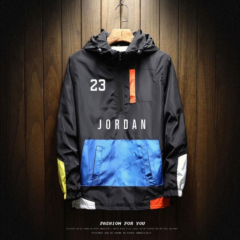 Windbreaker Coat Jordan Brand 2021 Hot Sale Mens Autumn Outdoor Hooded Jacket Male Zipper Large Size