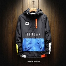 Windbreaker Coat Jordan Brand 2021 Hot Sale Mens Autumn Outdoor Hooded Jacket Male Zipper Large Size